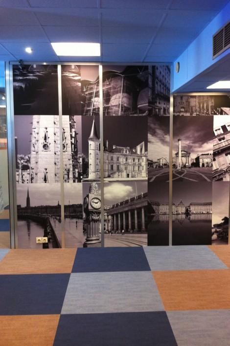 mur d'image sur cloisons de bureau